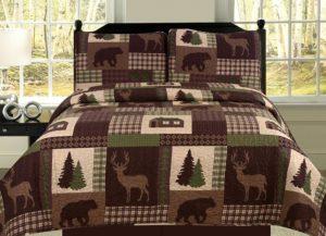 checkered bedspread in earth tones
