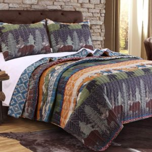 Dusty slate blue with earth tone tans and bear pine tree print lodge duvet quilt