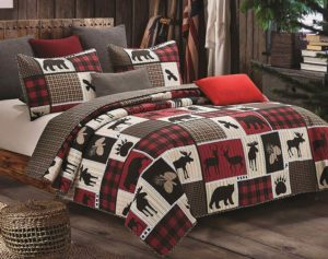 Black Bear Paw Moose Cabin lodge duvet quilt Red Buffalo Check Plaid