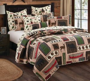 block print lodge cabin bed cover
