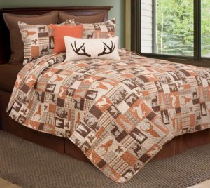 Rustic Earth toned small block print Buck Deer Cabin Style Lodge quilt duvet