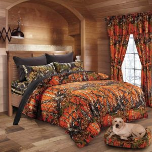 Country Rustic Charm in Orange and Black Camo-Lodge Cabin Quilt Duvet