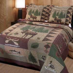 Cabin Lodge Style Quilts Duvets Muted grays, burgundy and green patchwork with leaves, loons, moose and trout decoration.