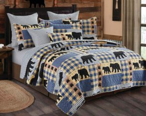 Blue block patchwork print with bear and baby bear silhouettes Cabin Lodge Style Quits Duvets
