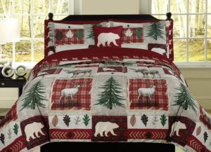 Cheery Christmas colors with White bear silhouette on burgundy background w/green pine trees inbetween,