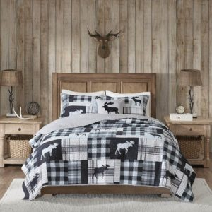 black and white  moose themed lodge duvet quilt