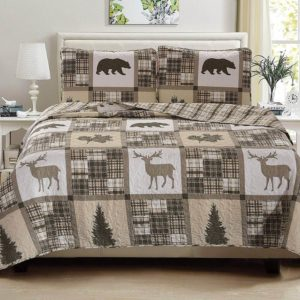 Muted earth tones with Buck deer, plaid squares and pine trees, Cabin Lodge Style Quilts Duvets