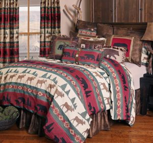 Cabin Lodge duvet in reds, blacks and  earth tones