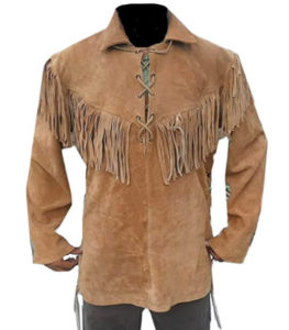 Fringed yoke shirt jacket with cross rawhide ties in front