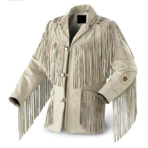 White leather deep fringe jacket