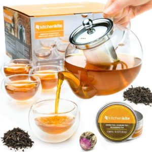 infusion glass teapot with cups