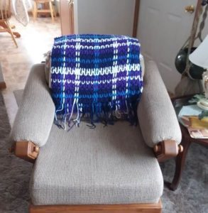 Blue Purple and White Afghan Shawl