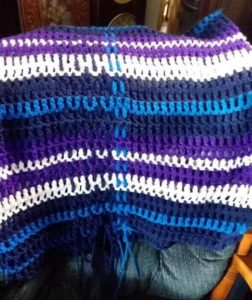 unfinished handmade crocheted plaid afghan shawl