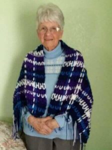 Handmade Crocheted Plaid Afghan Shawl
