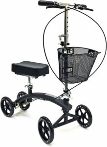 Steerable scooter with basket and storing capabilites