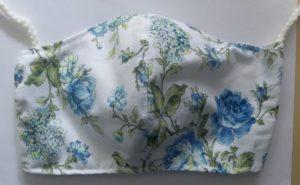 Blue Rose Floral Face Mask