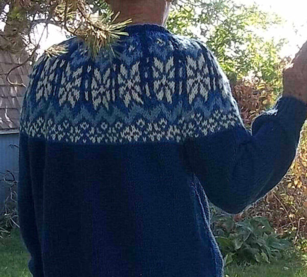 fair isle norwegian mens sweater in blue