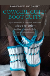 Twisted Rib Knit Stitch Cowgirl Boot Cuffs in Turquoise and White