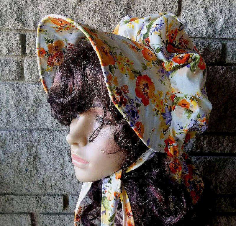 poppies in orange ladies sun bonnet